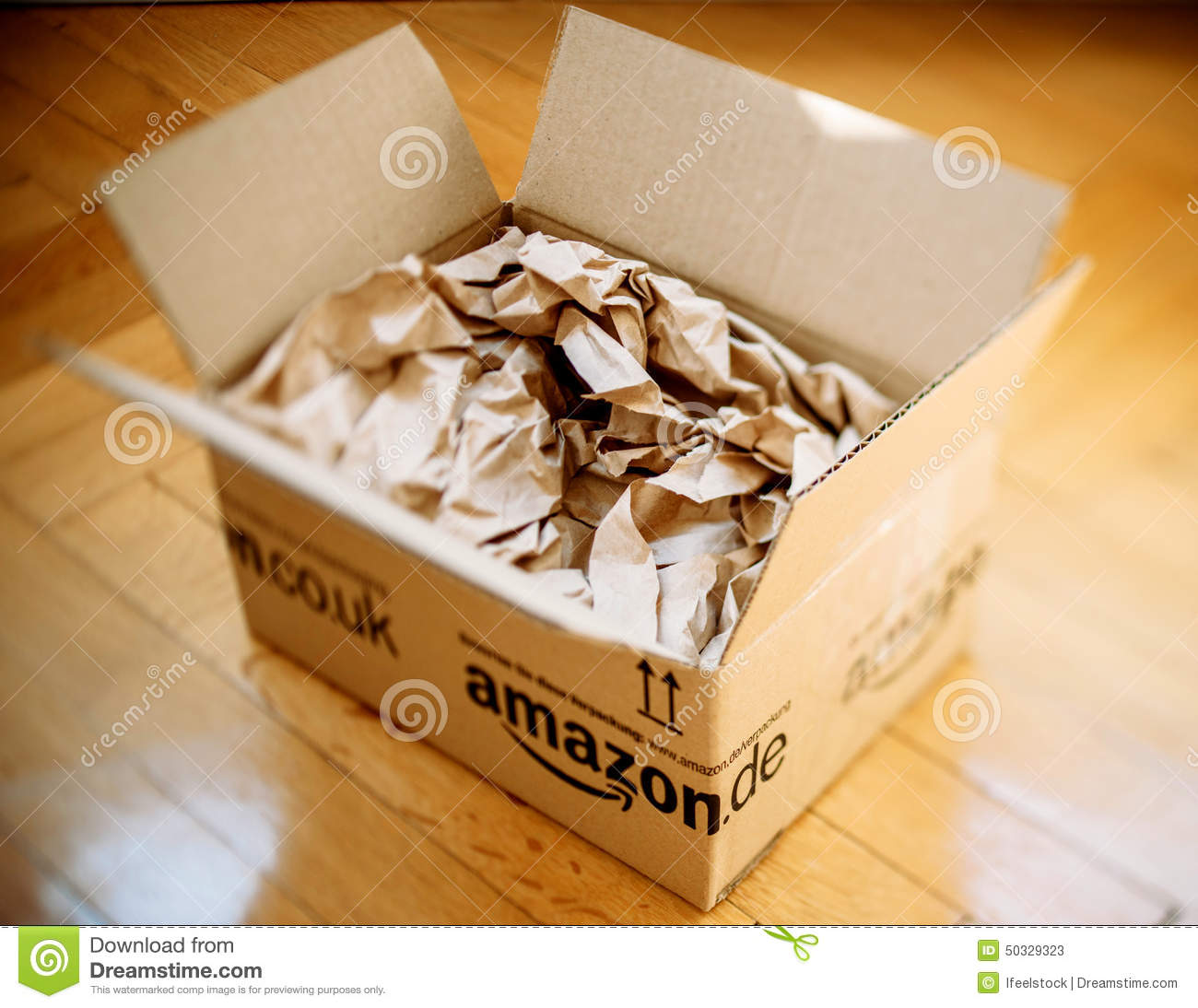 Amazon Parcel Opened On Home Parquet Floor Editorial Stock