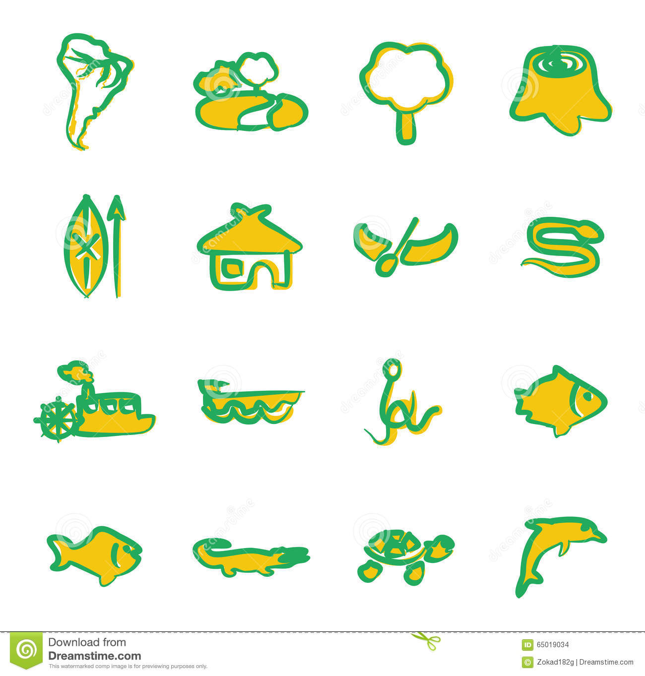 Amazon Rainforest Icons Freehand 2 Color Stock Vector - Illustration ...