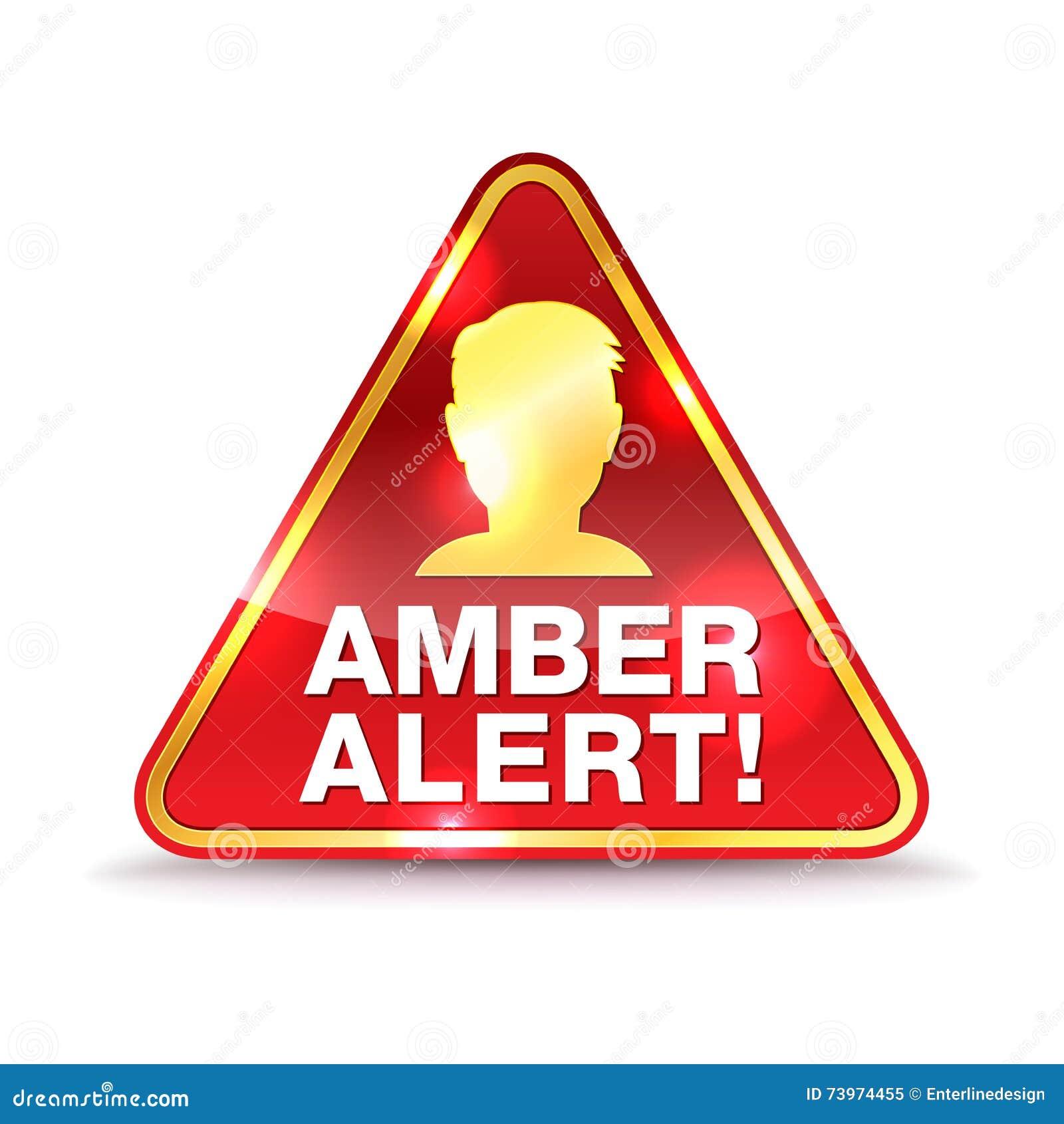 Amber Alert Warning Icon Illustration