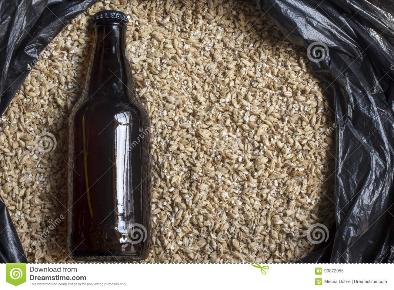 Amber malt with bottle, beer brewing ingredients