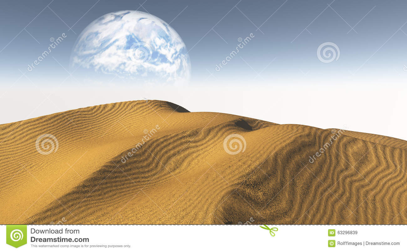 Amber Sand Desert With Terraformed Moon Or Earth From Terraform
