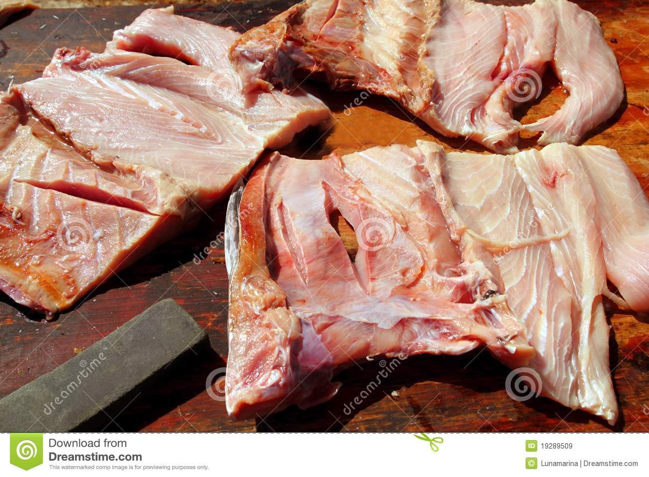 Amberjack Fish Fillet On Wood Table Stock Image Image Of