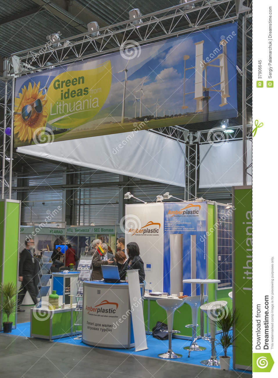 Trade Show Booth Visitors : Amberplastic lithuanian company booth editorial image