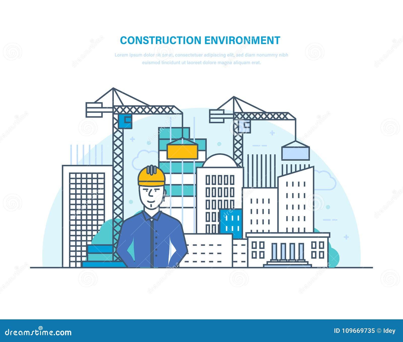 Ambiente da construção Controle para o processo que constrói em casa Construção civil, projetando
