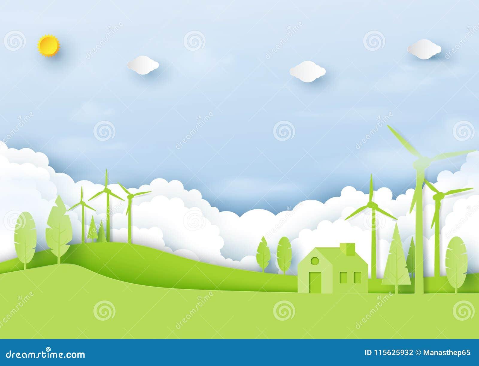 Ambiente do eco verde e chiqueiro amigáveis da arte do papel de conceito da ecologia