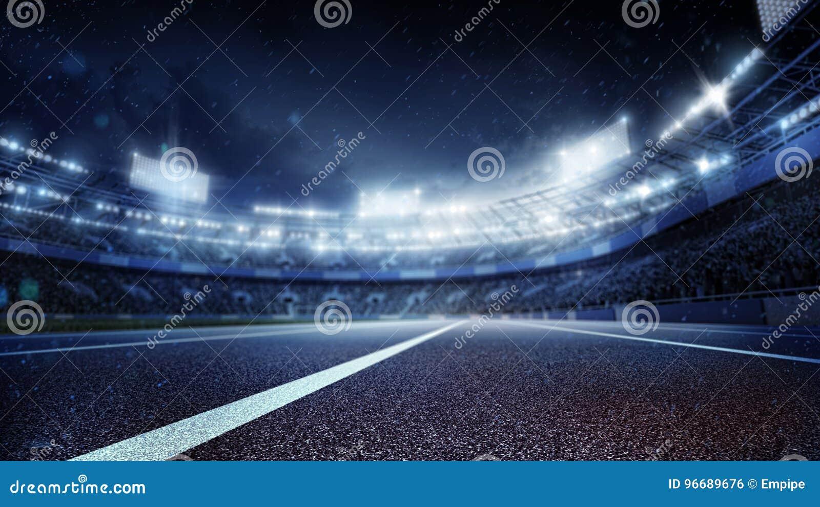 Ambiti di provenienza di sport Stadio di calcio e pista corrente 3d rendono
