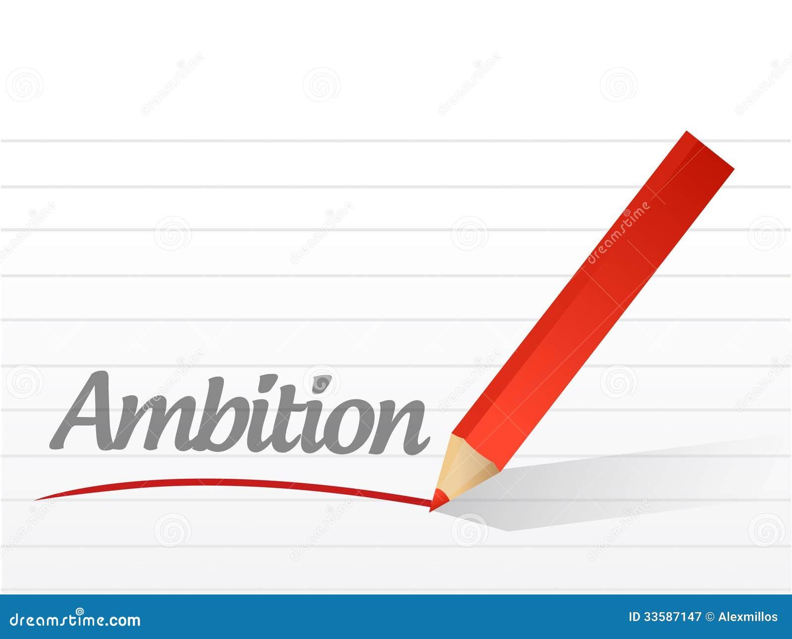 Ambitie die op een wit stuk van document wordt geschreven.
