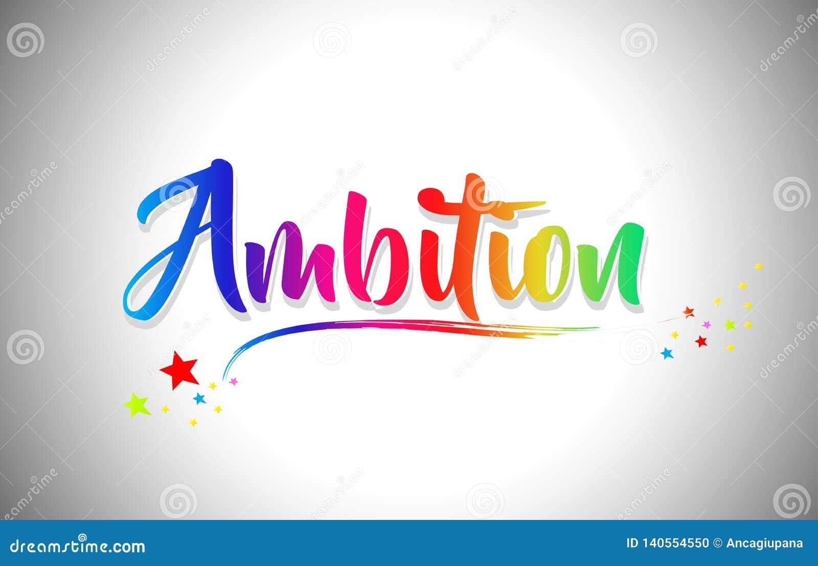 Ambitie Met de hand geschreven Word Tekst met Regenboogkleuren en Trillende Swoosh