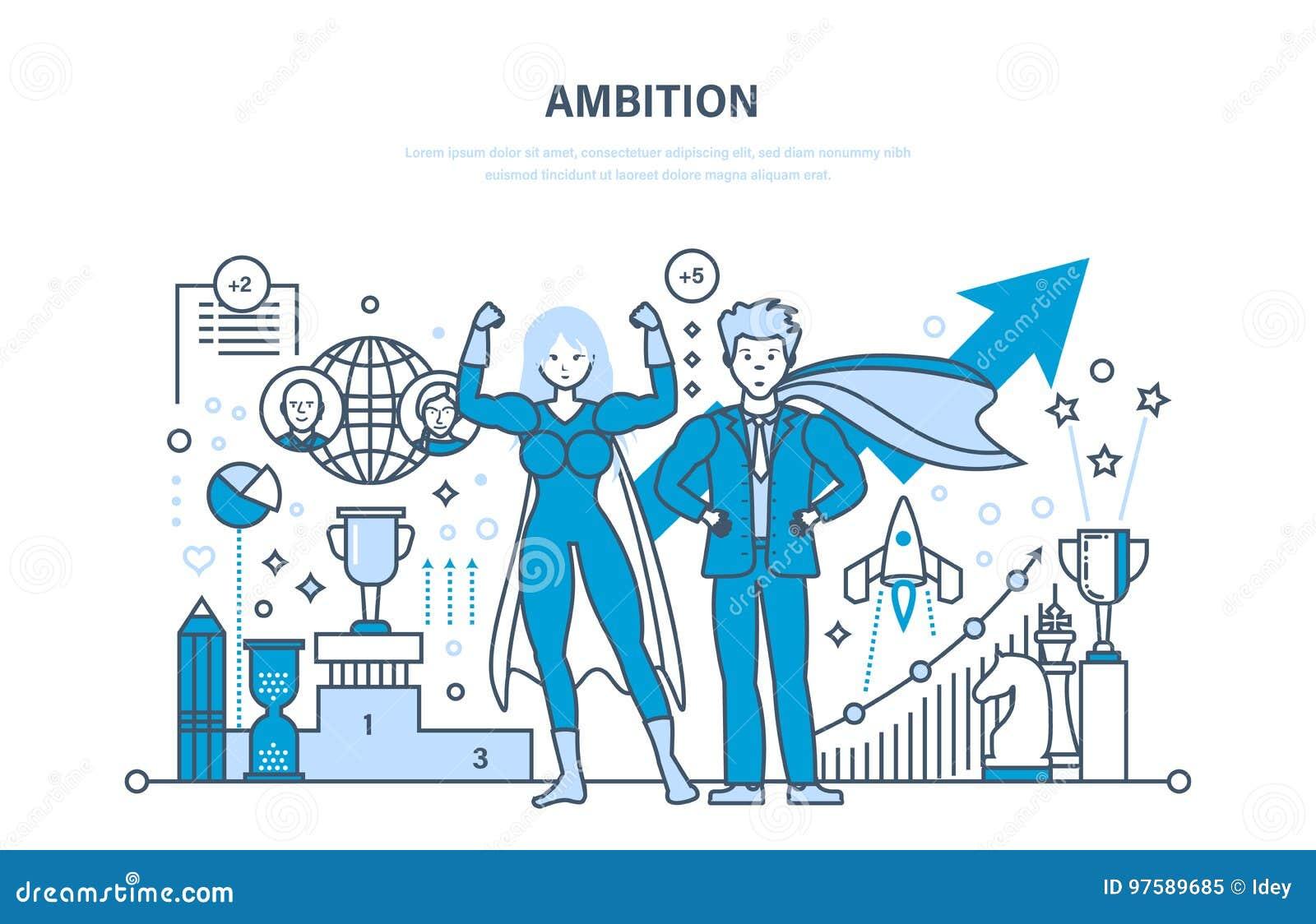 Ambitie, succes in het werk, voltooiing, leiding, mededeling, controle en beheer