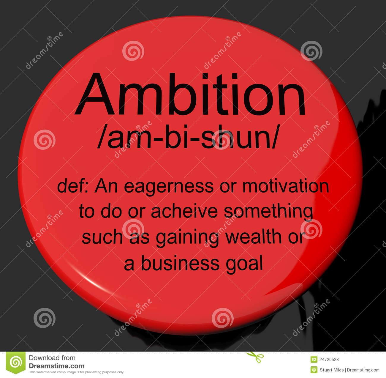 ... : Ambition Definition Button Showing Aspirations Motivation And Dr