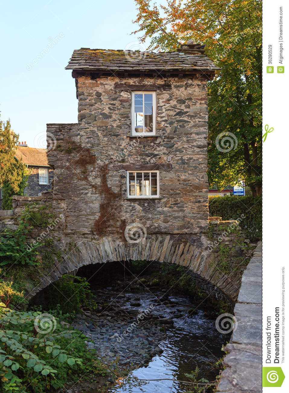 Royalty Free Stock Images Ambleside Bridge House Th Century Old Stone Cottage Perched Over Stock Beck Cumbria English Lake District Pictured Image36280529 on Small English Cottage House Plans