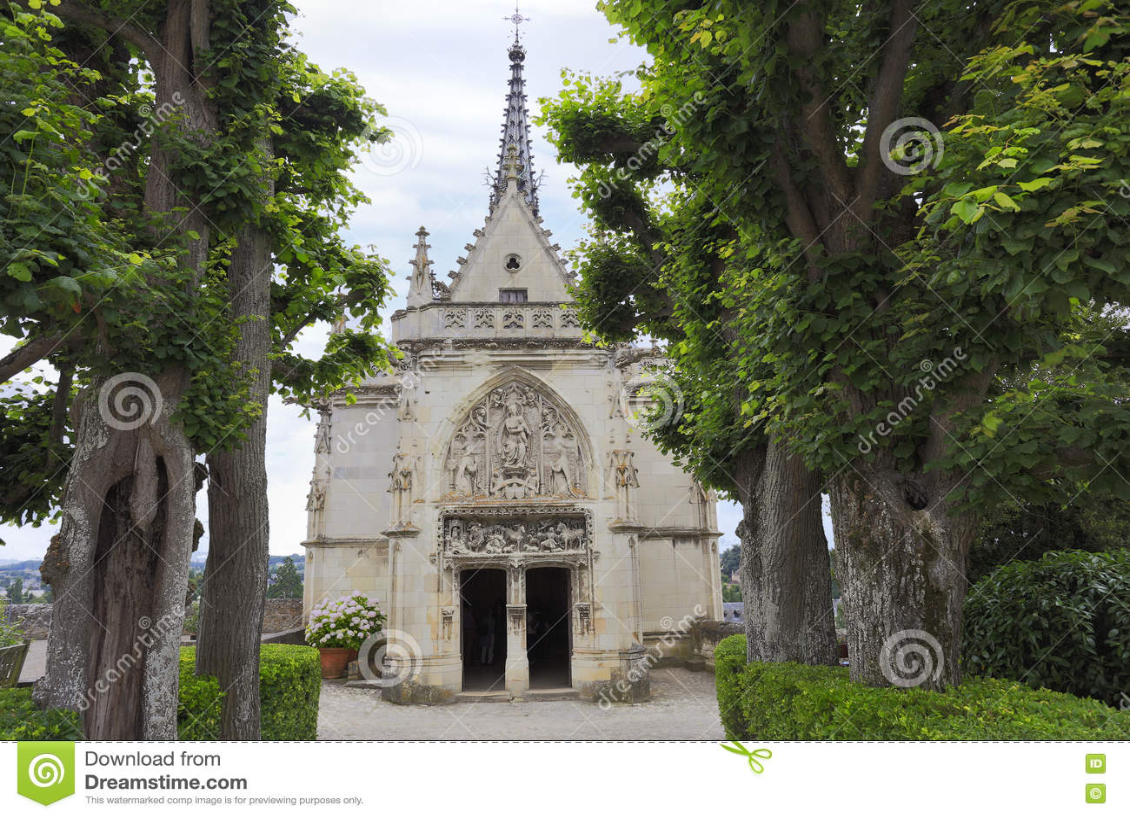 Amboise, Saint Hubert gothic chapel, Leonardo Da Vinci tomb in Loire Valley