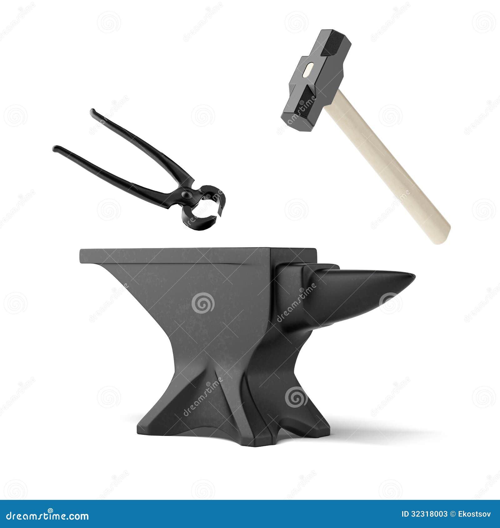 Amboss, Zangen und ein Schmiedehammer