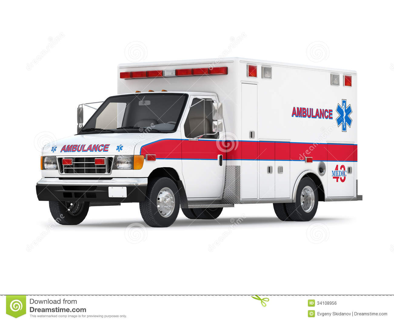 ambulance car on white background perspective view stock