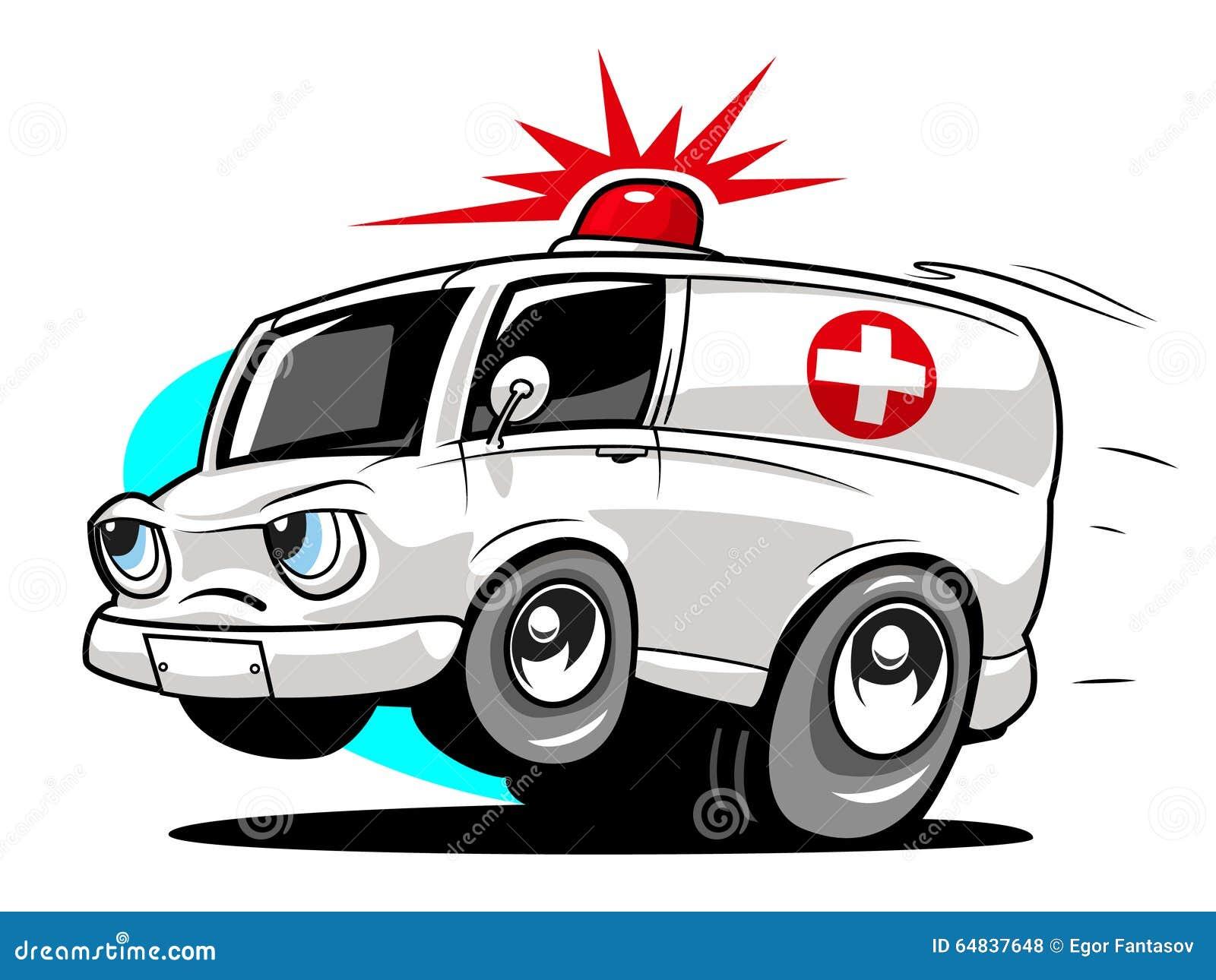 Ambulance De Bande Dessinée Illustration de Vecteur - Illustration du automobile, aide: 64837648