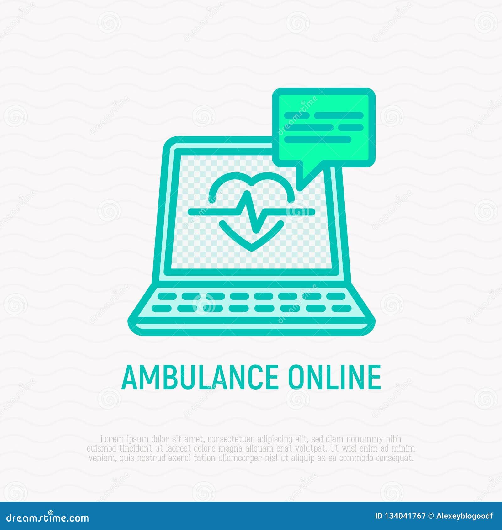 Ambulance en ligne : ordinateur portable ouvert avec le battement de coeur
