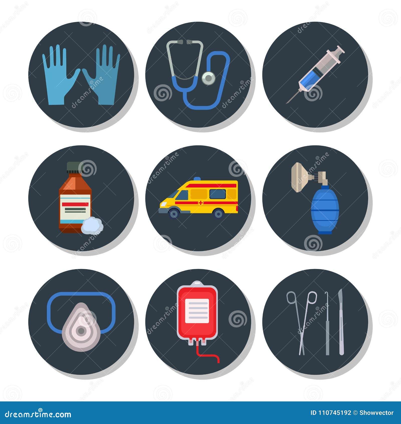 Ambulance Icons Vector Medicine Health Emergency Hospital