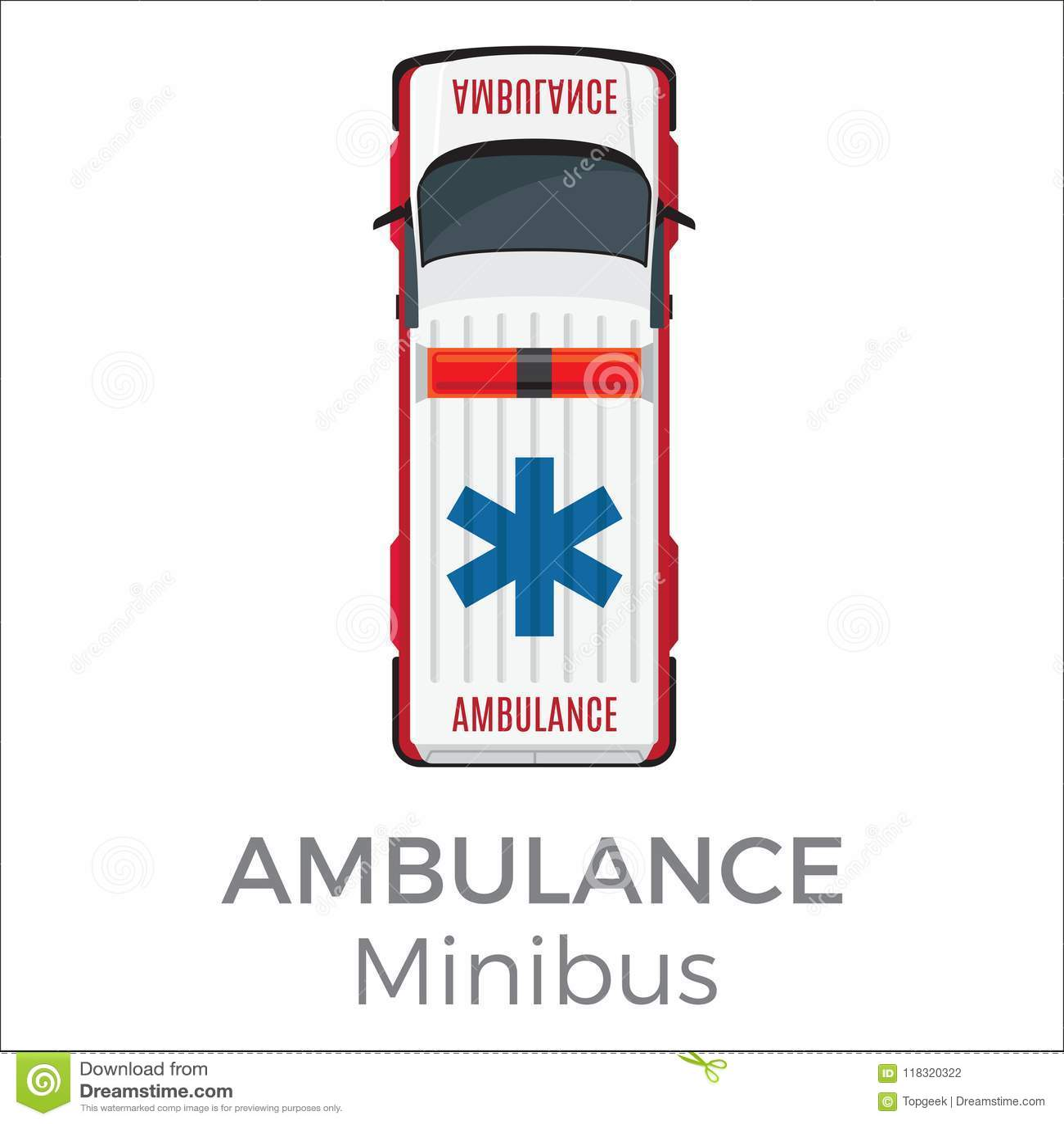 Ambulance Minibus Car Means Of Transportation Stock Vector