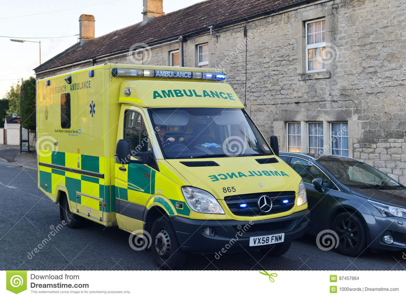 Ambulance Responds To A Emergency Editorial Stock Image