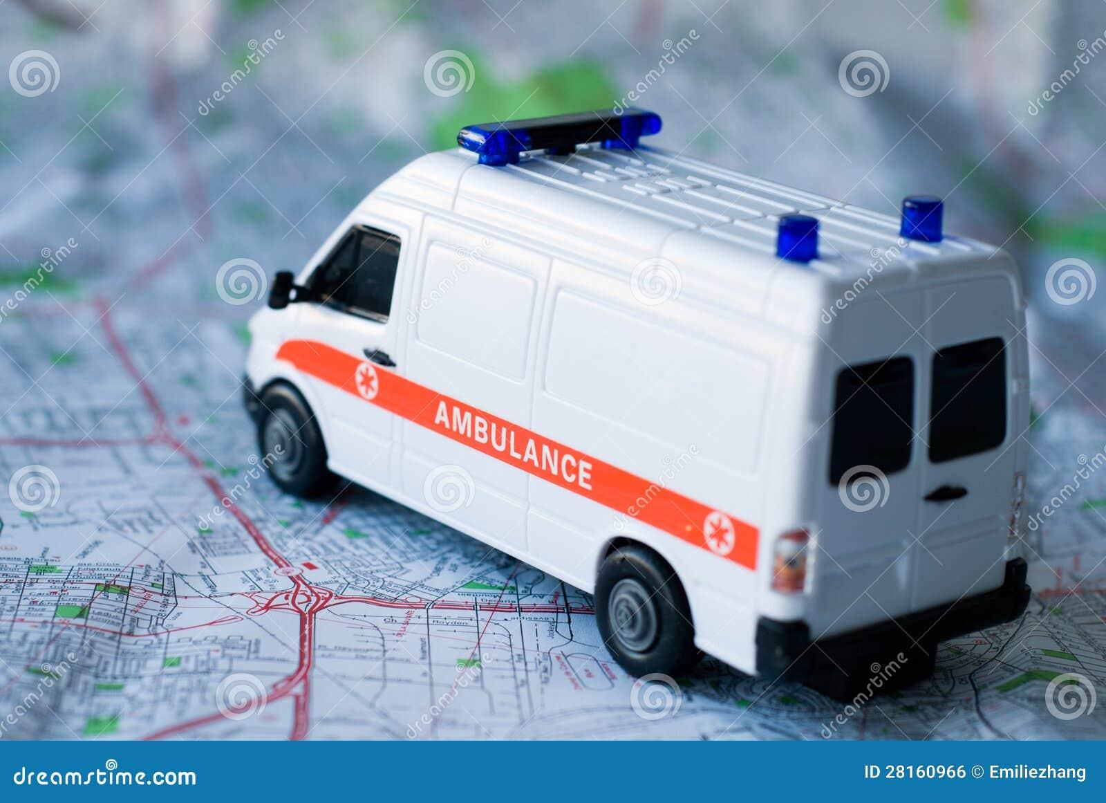 Ambulancia en un mapa