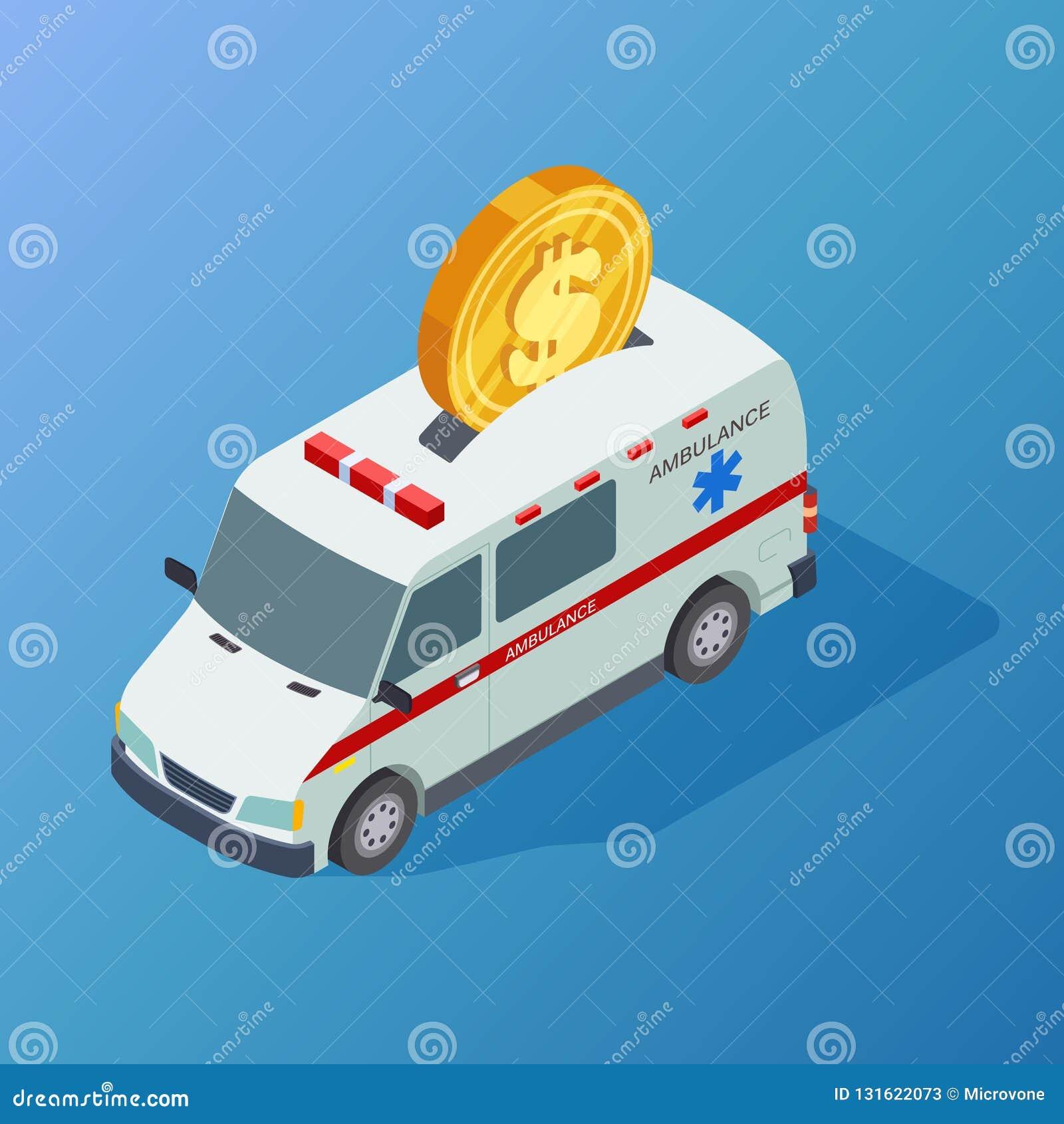 Ambulancia isométrica y moneda del vector comercial de la medicina
