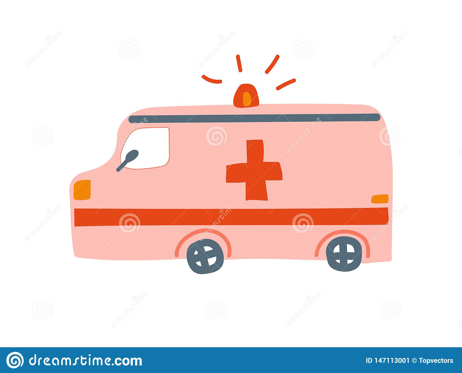 Ambulansbil, nöd- medicinska Van Cartoon Vector Illustration