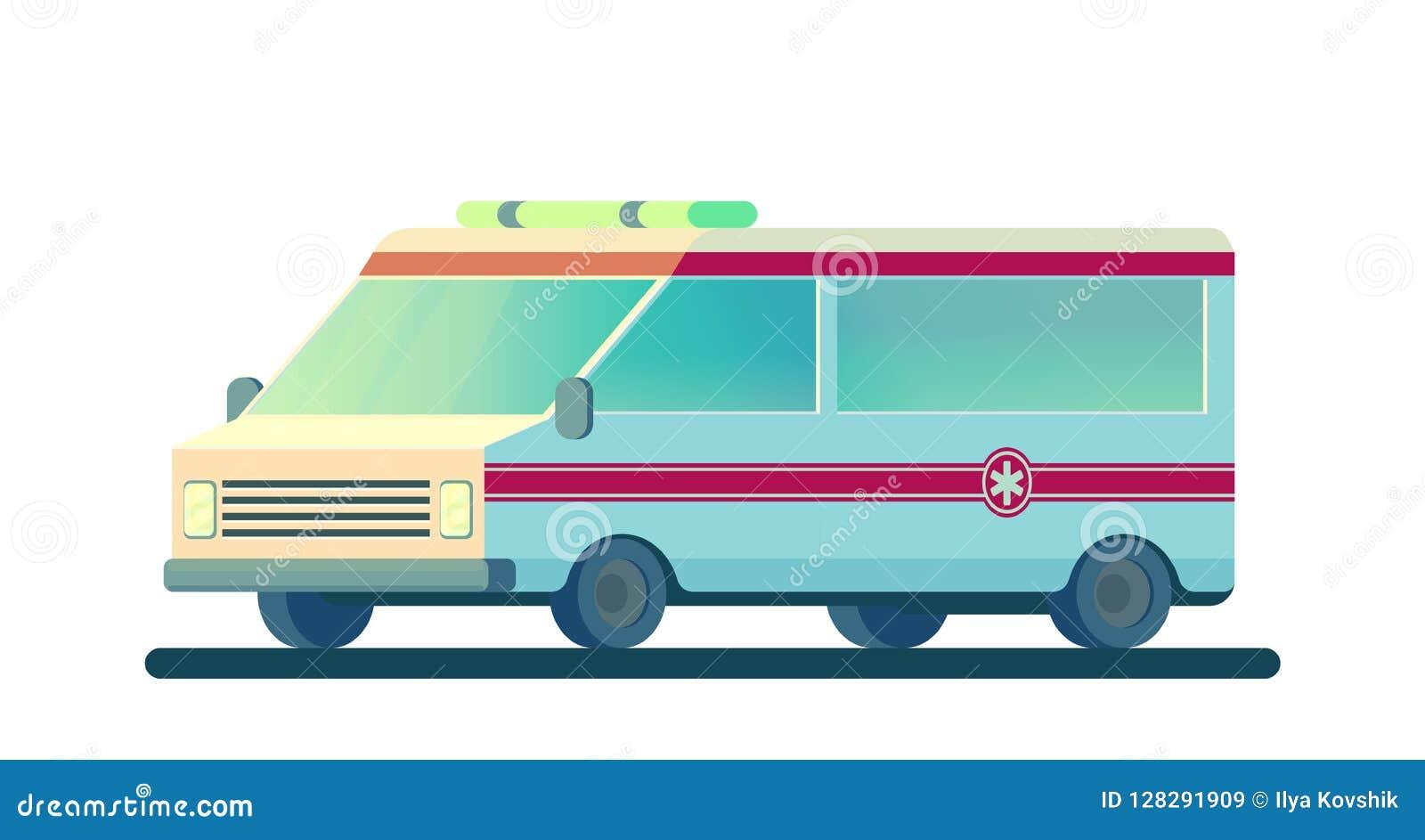 Ambulansbil som isoleras på vit Maskinen för att ge den första nödvändiga nöd- medicinska hjälpen vektor
