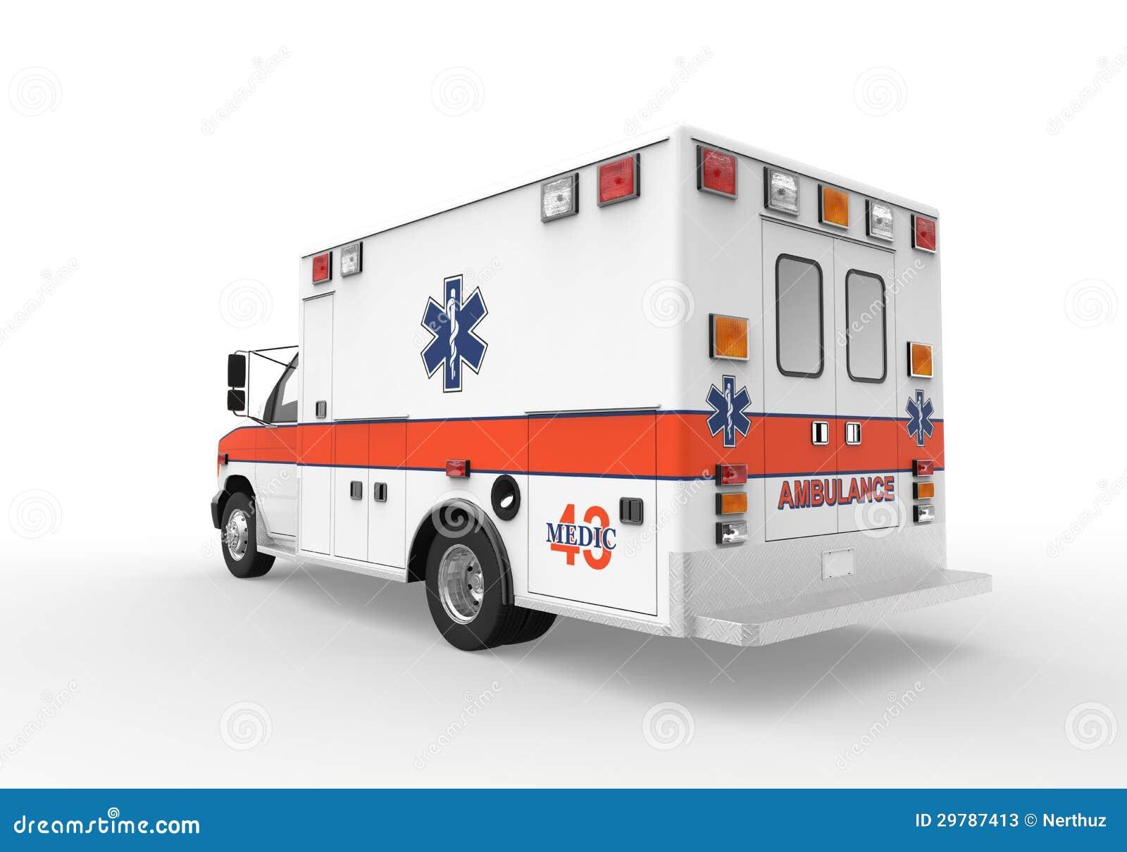Ambulans på vitbakgrund