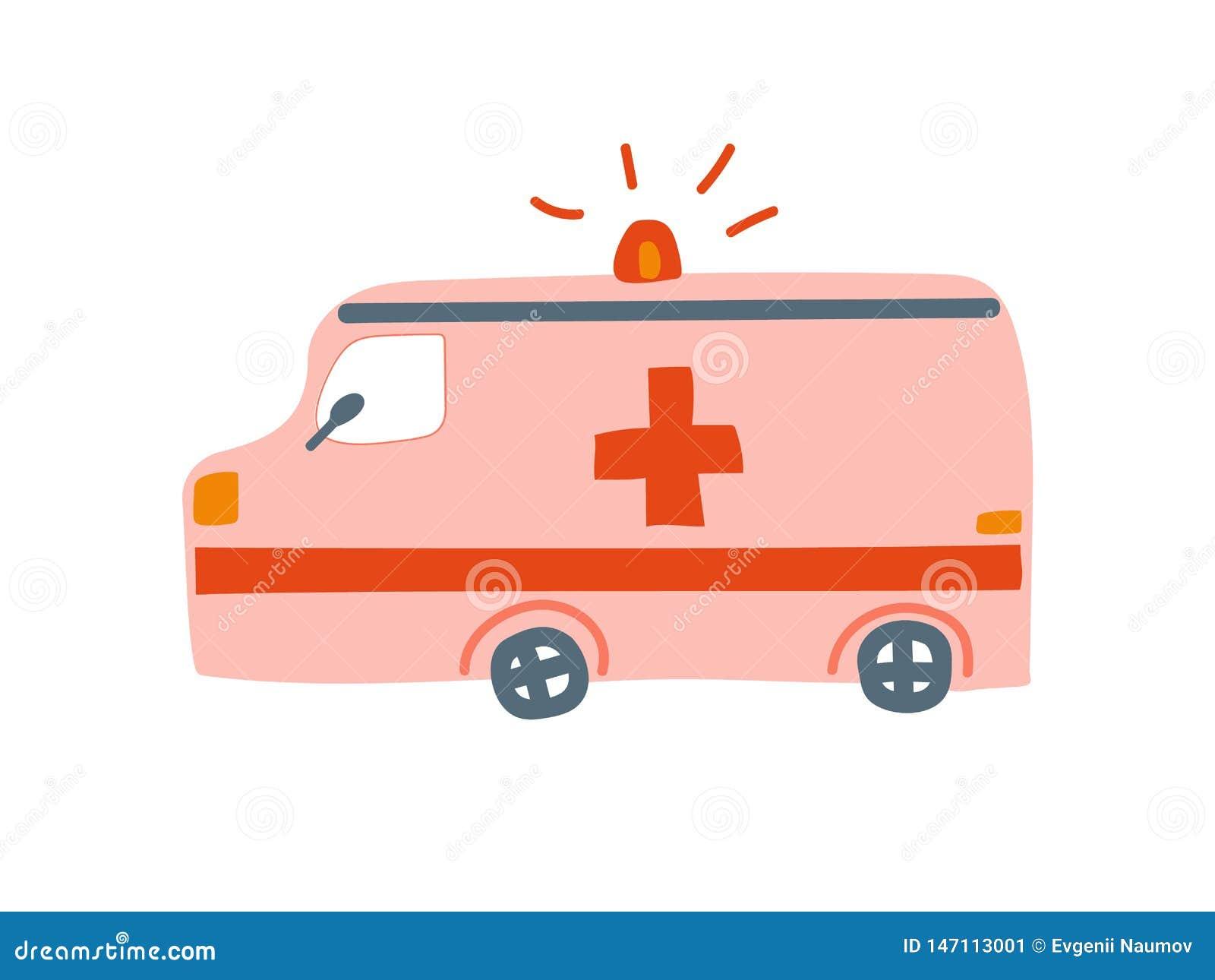 Ambulansowy samochód, Nagłego wypadku Medyczny Van Kreskówka Wektor ilustracja