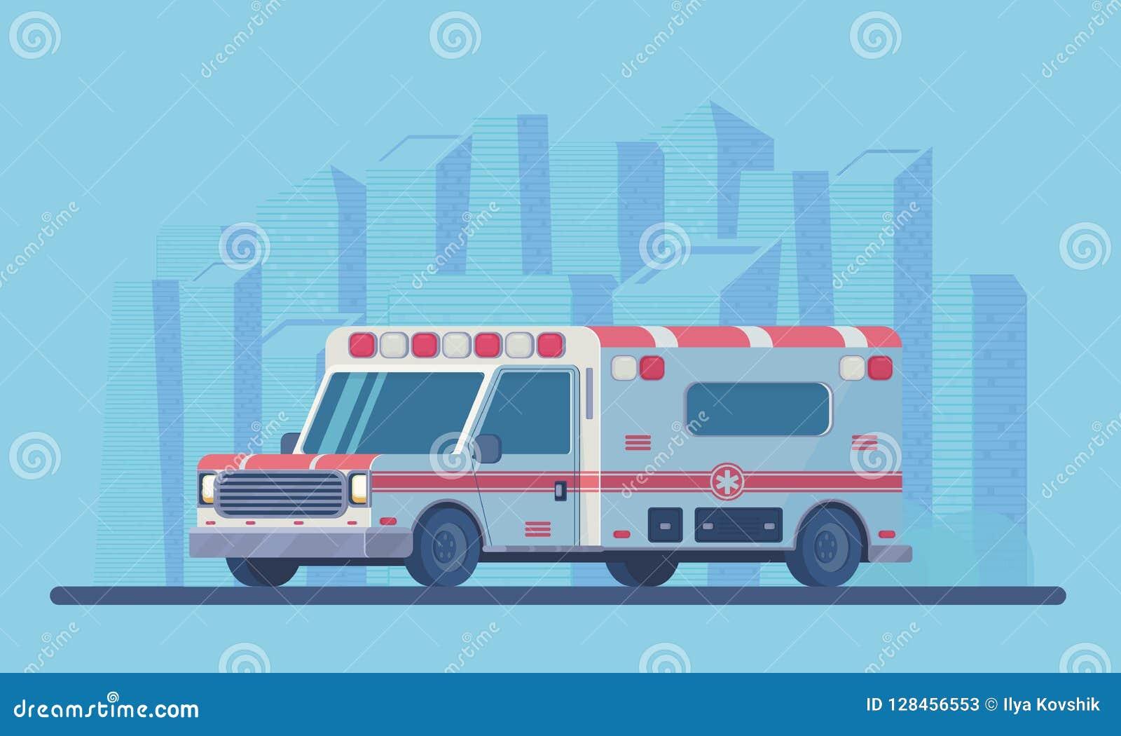Ambulansowy samochód z miasta scyscraper krajobrazem Pierwsza pomoc medyczny pojazd Wektorowy mieszkanie styl