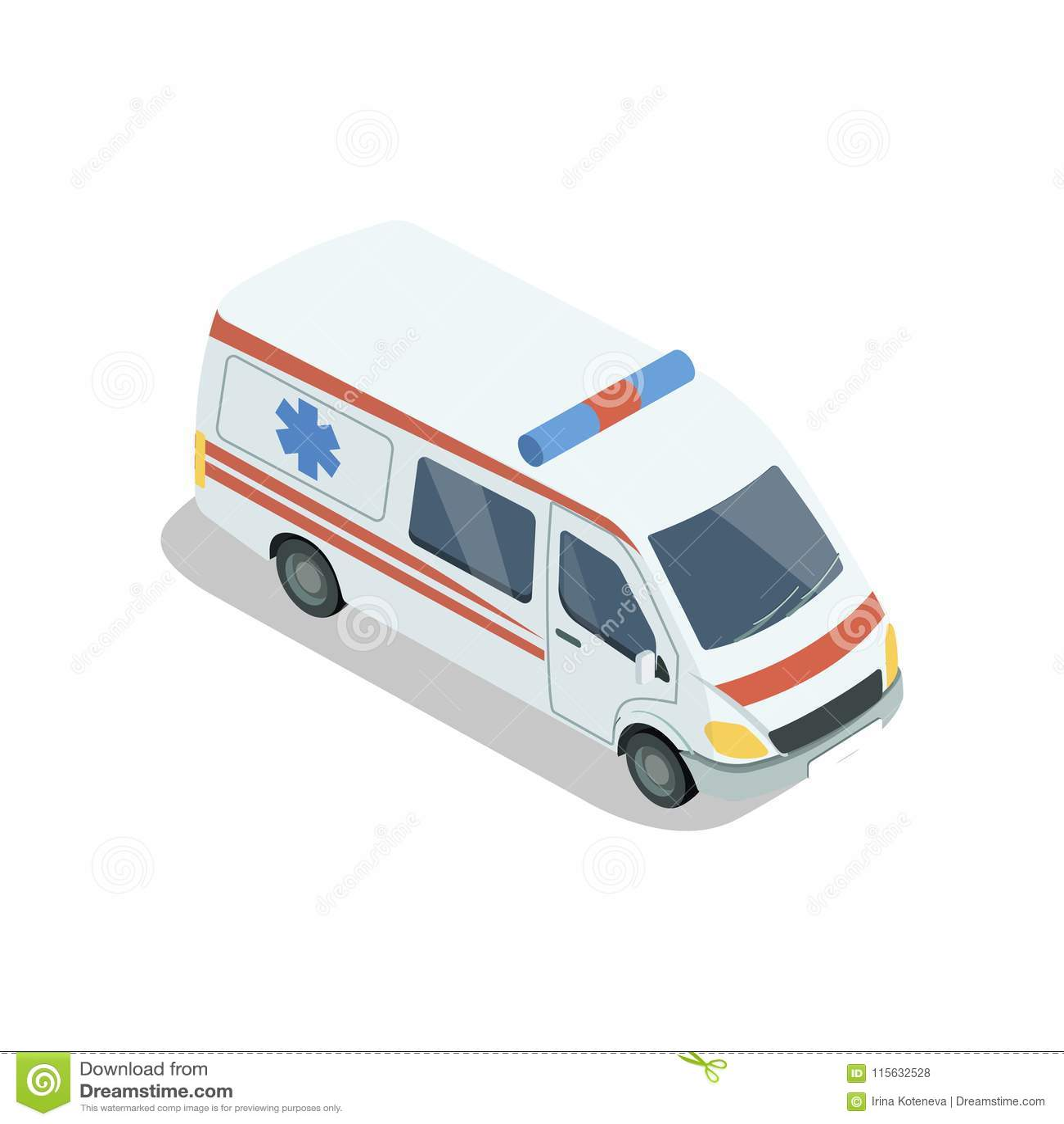 Ambulansowy samochodowy isometric 3D element