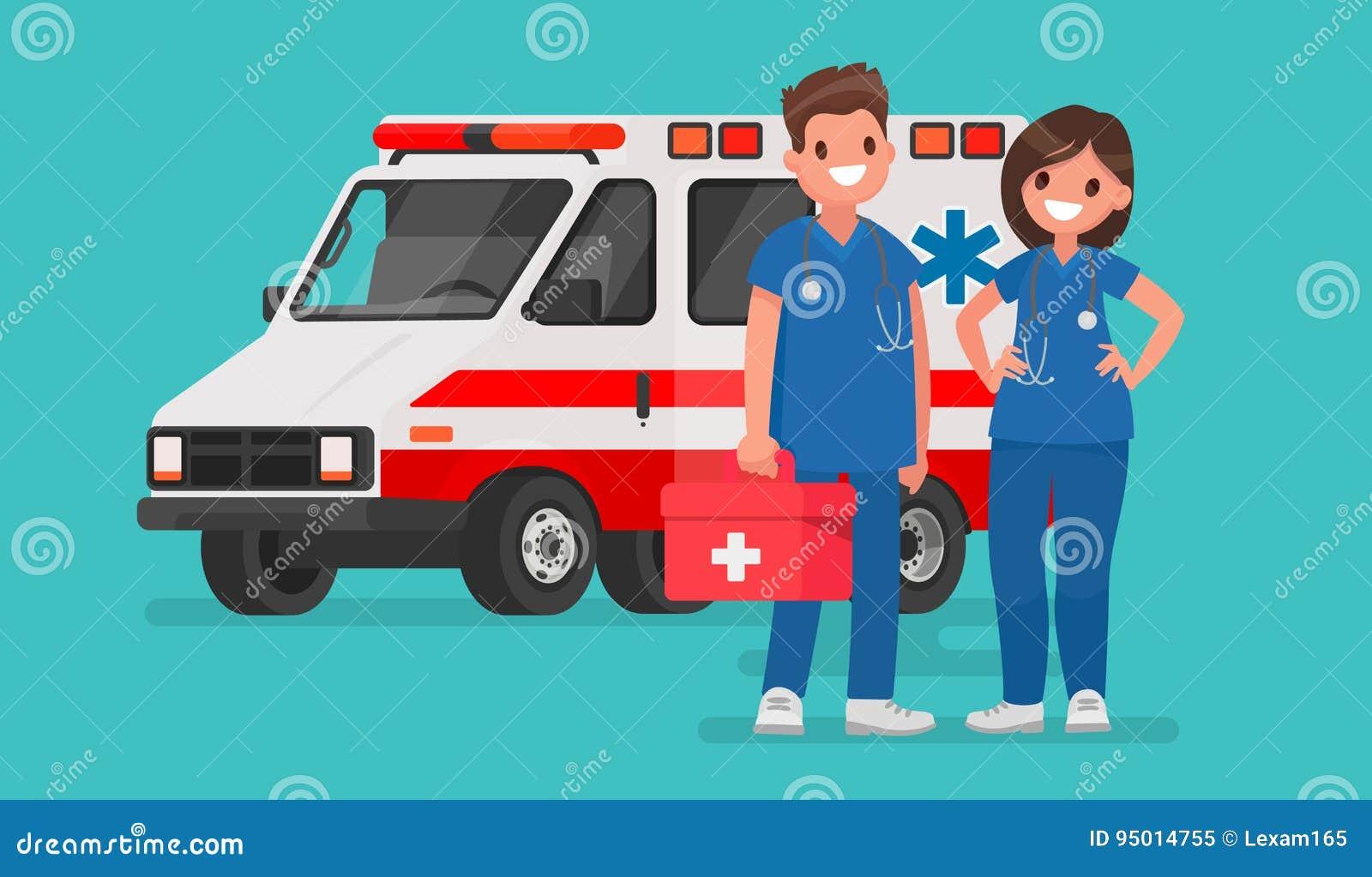 Ambulanspersonal Par av doktorer Vektorillustration i en fla