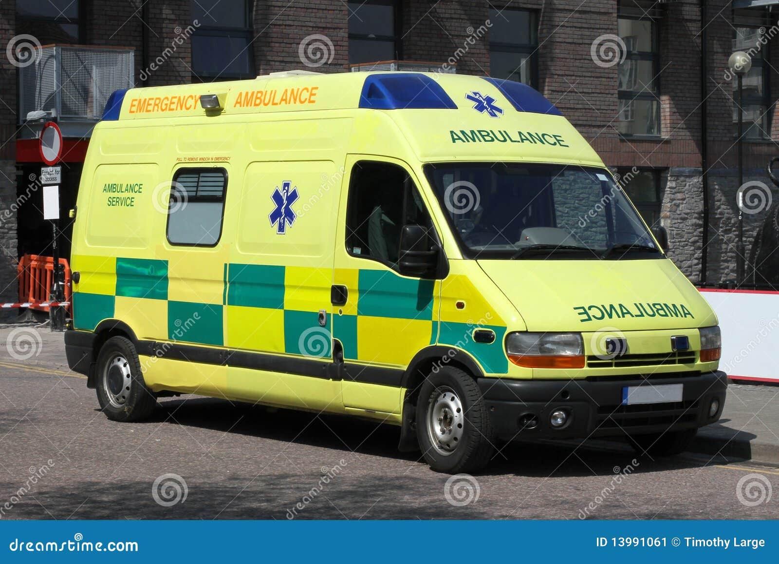 Ambulanza britannica gialla luminosa