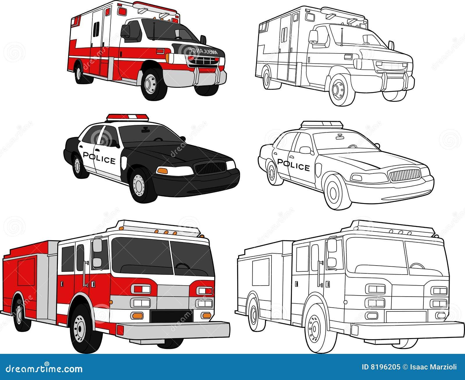 Ambulanza Volante Della Polizia Autopompa Antincendio