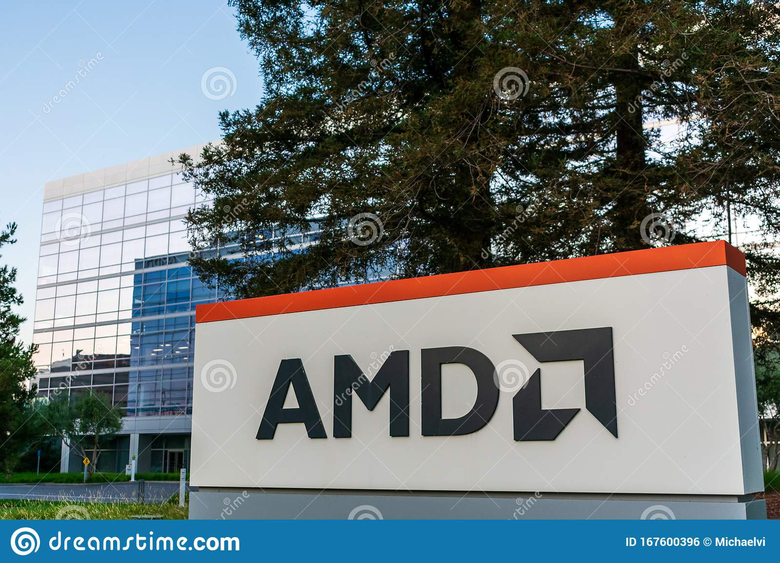 Amd Sign And Logo Near Semiconductor Company Headquarters At Modern Santa Clara Square Campus Built By Irvine Company In Silicon Editorial Photo Image Of Headquarters Company 167600396