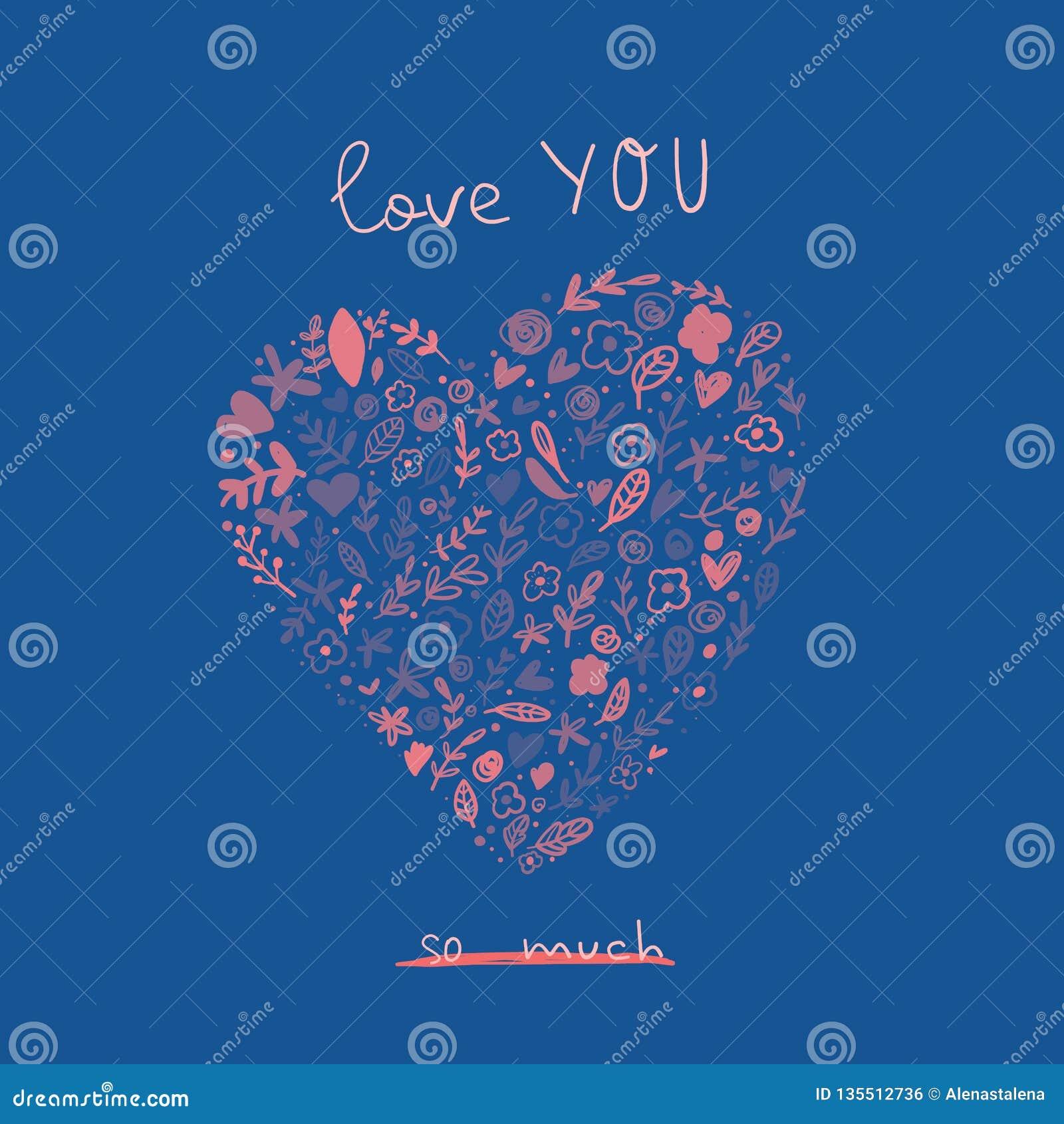Ame-o cartão com coração bonito dos desenhos animados Conceito do cartaz de Valentine Day Love