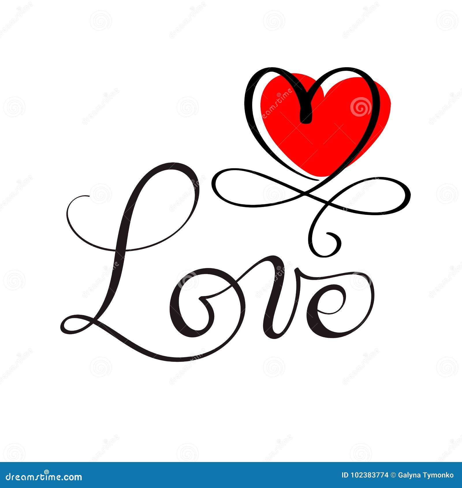 AME a rotulação feita sob encomenda original da mão, caligrafia feito a mão, elemento do projeto do flourish vermelho do coração