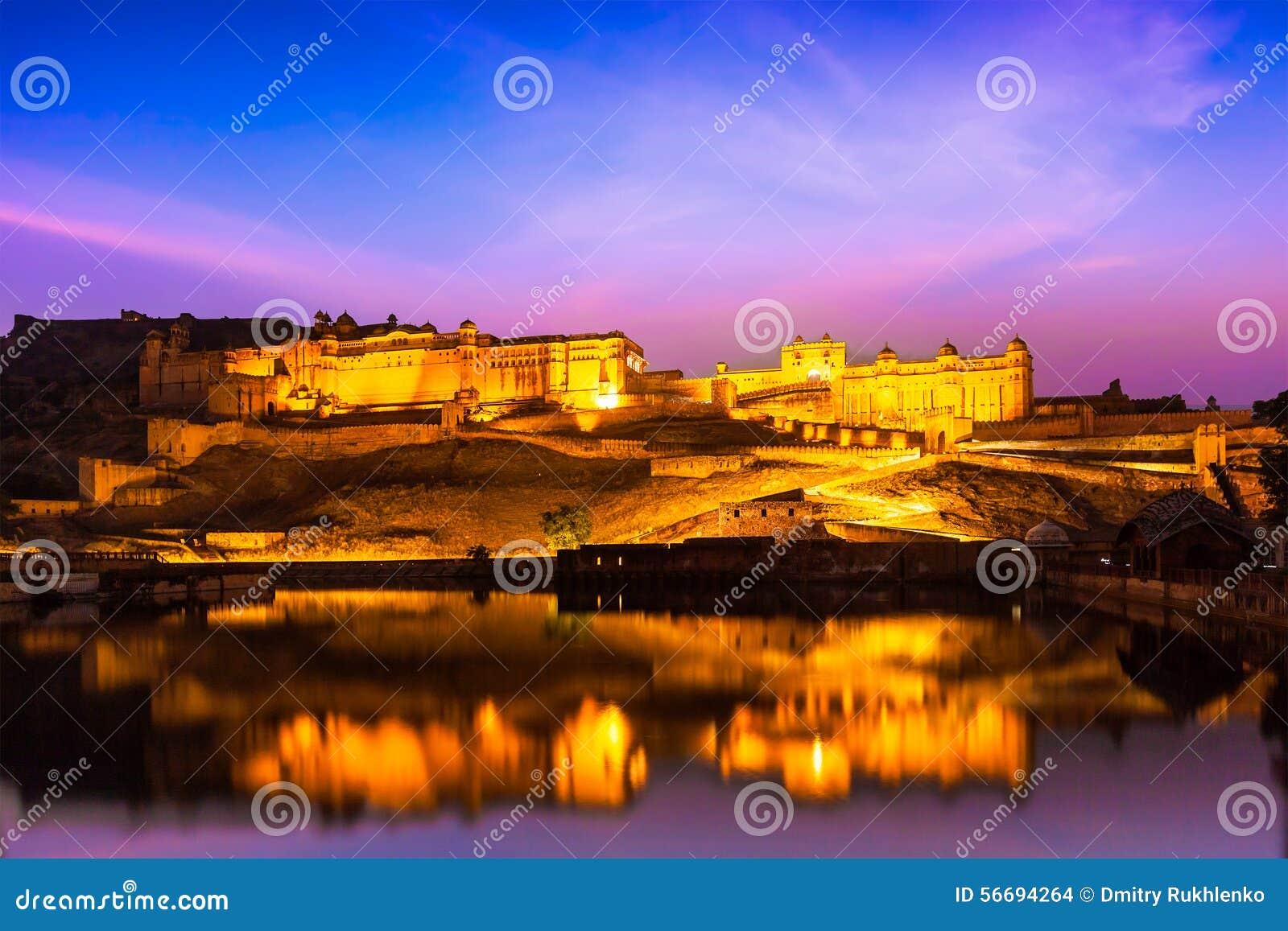 Amer Fort på natten i skymning Jaipur Rajastan