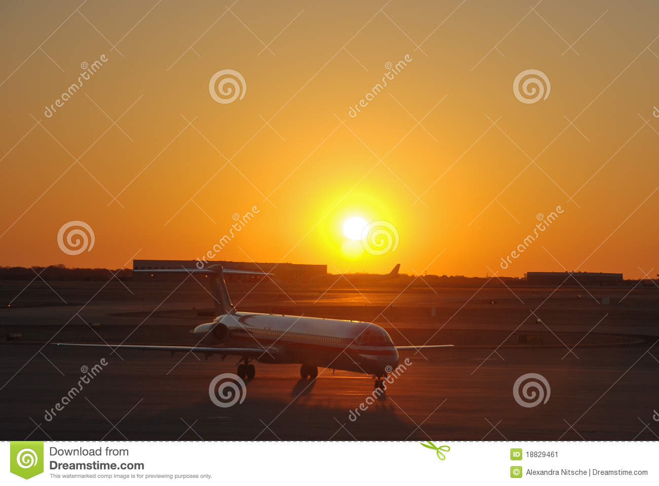 Amercan Airlines Jumbo Jet at Sunset