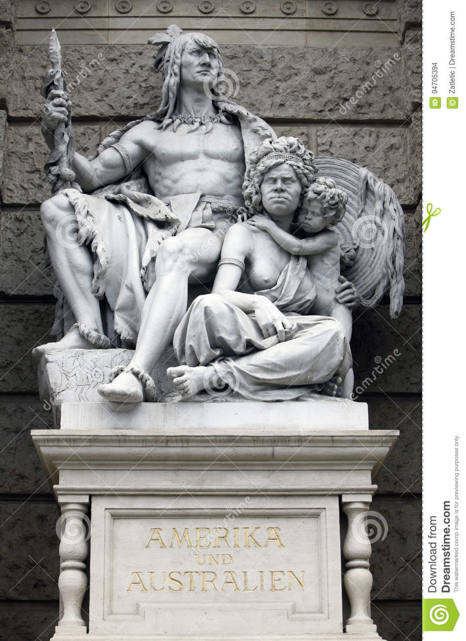 America and Australia, statues depicting personifications of the continents. Naturhistorisches Museum, Vienna