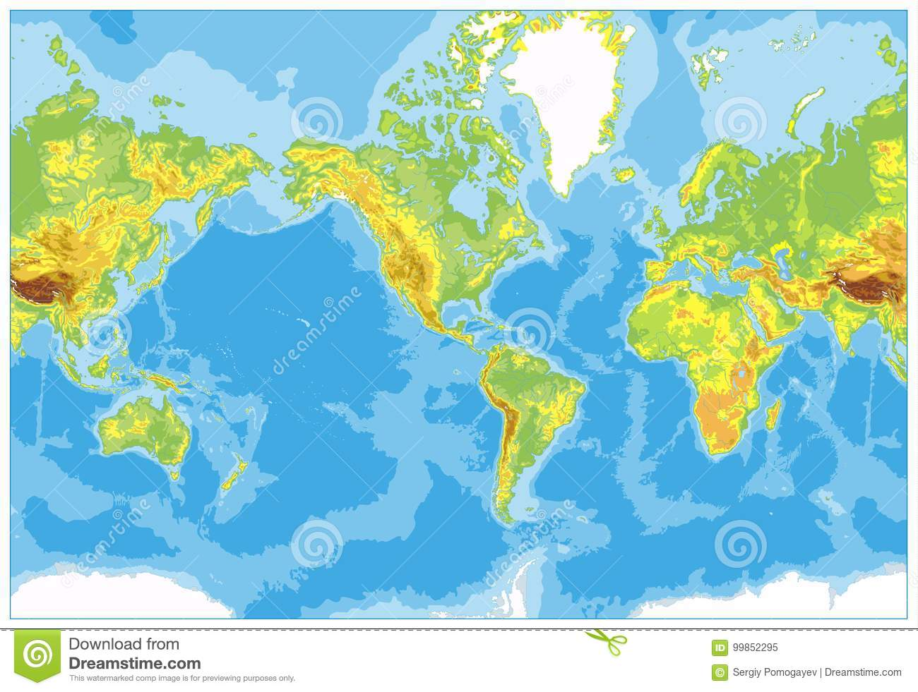 Map Of The World No Borders.America Centered Physical World Map No Text And Borders Stock