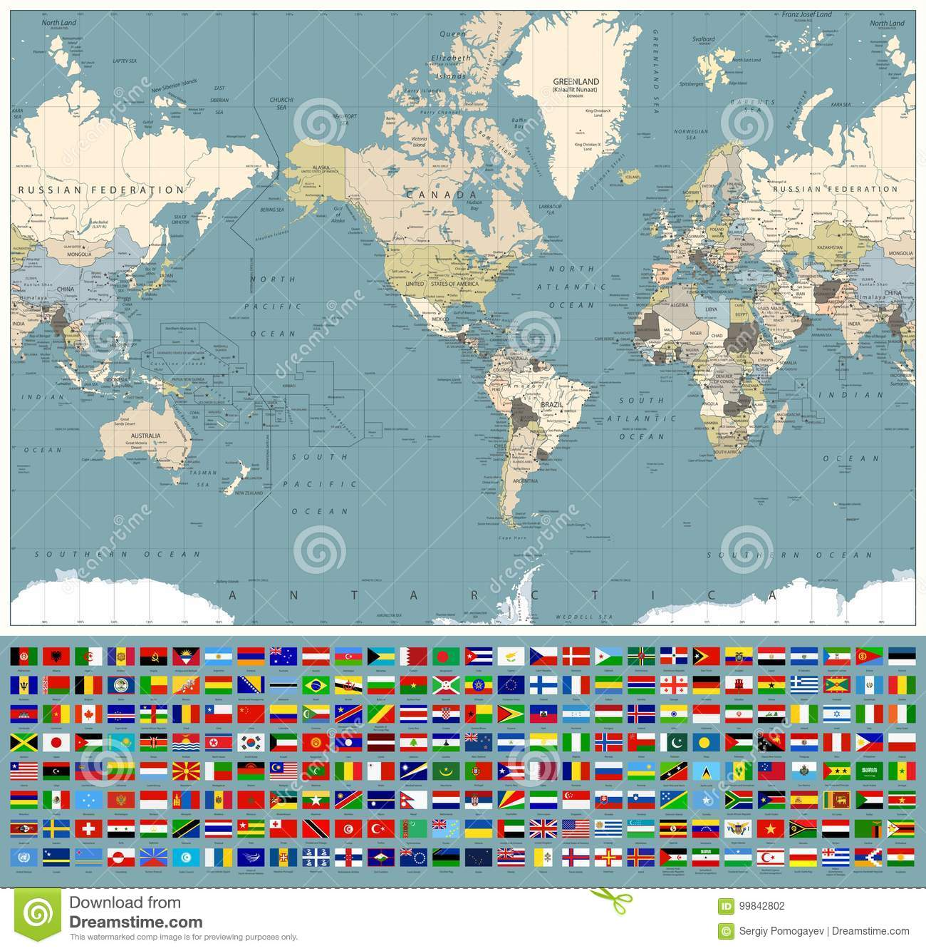 America Centered World Map And All World Flags Retro Colors Stock