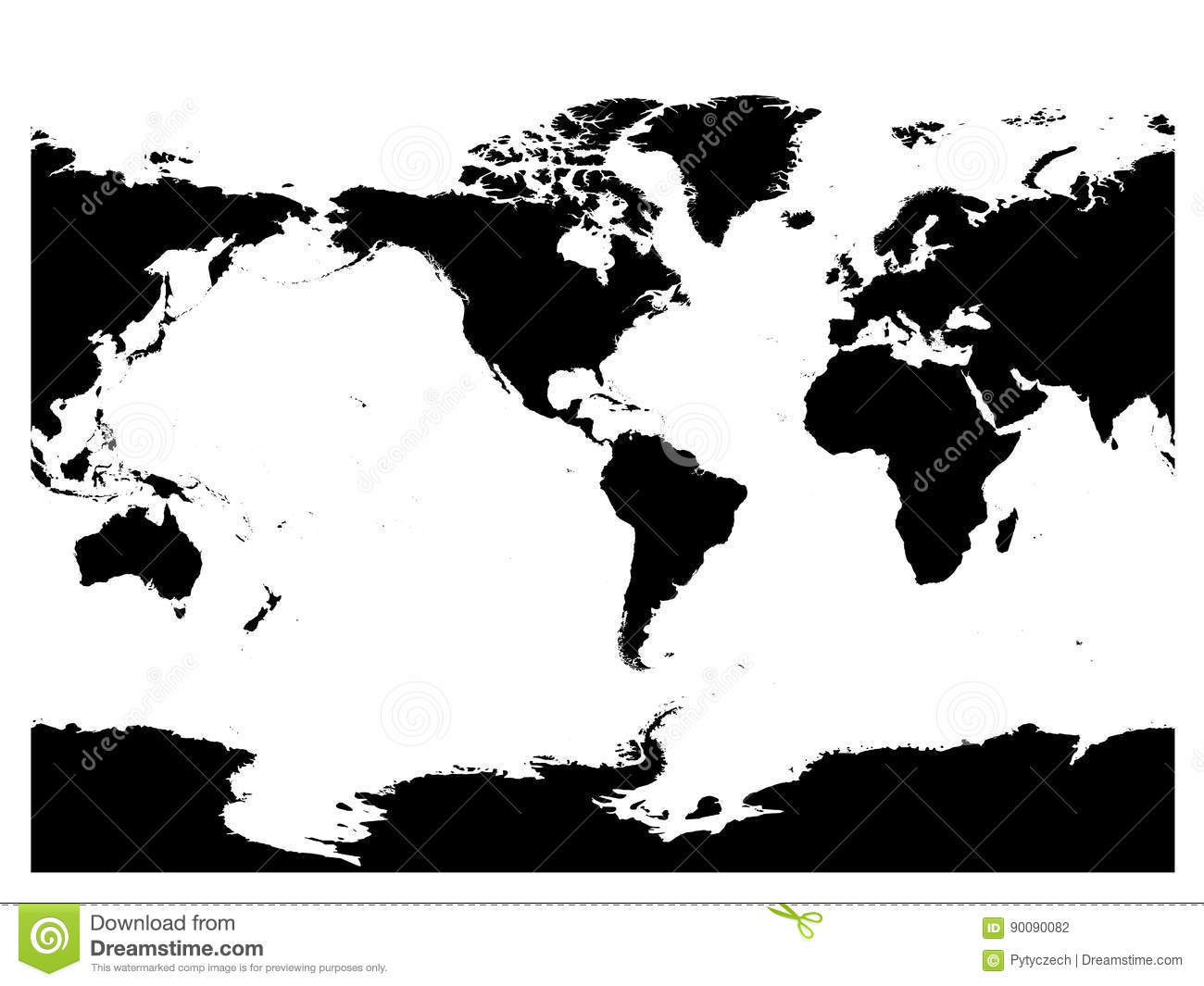 America Centered World Map High Detail Black Silhouette On White