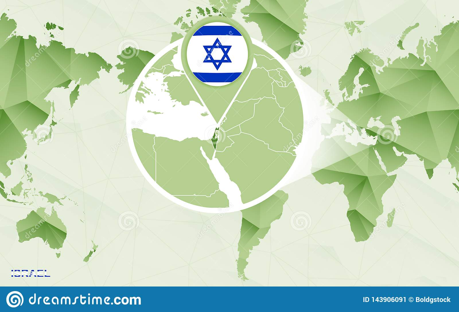 America Centric World Map With Magnified Israel Map Stock ...