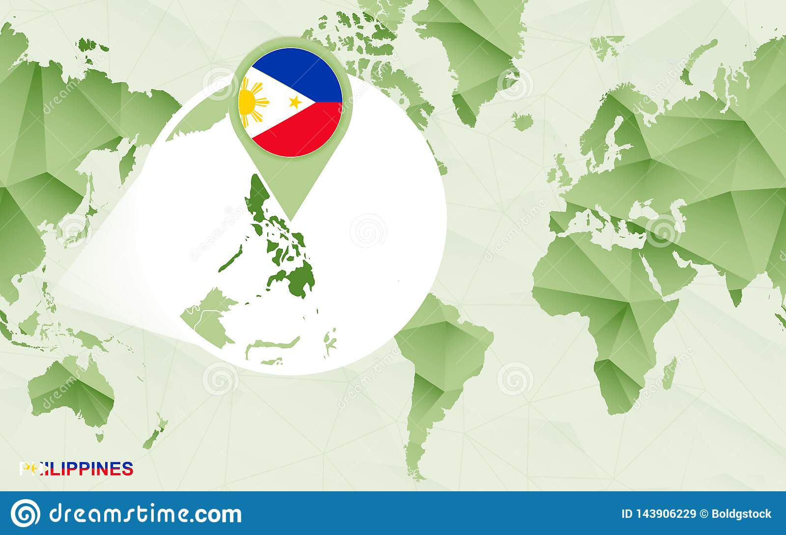 America Centric World Map With Magnified Philippines Map ...