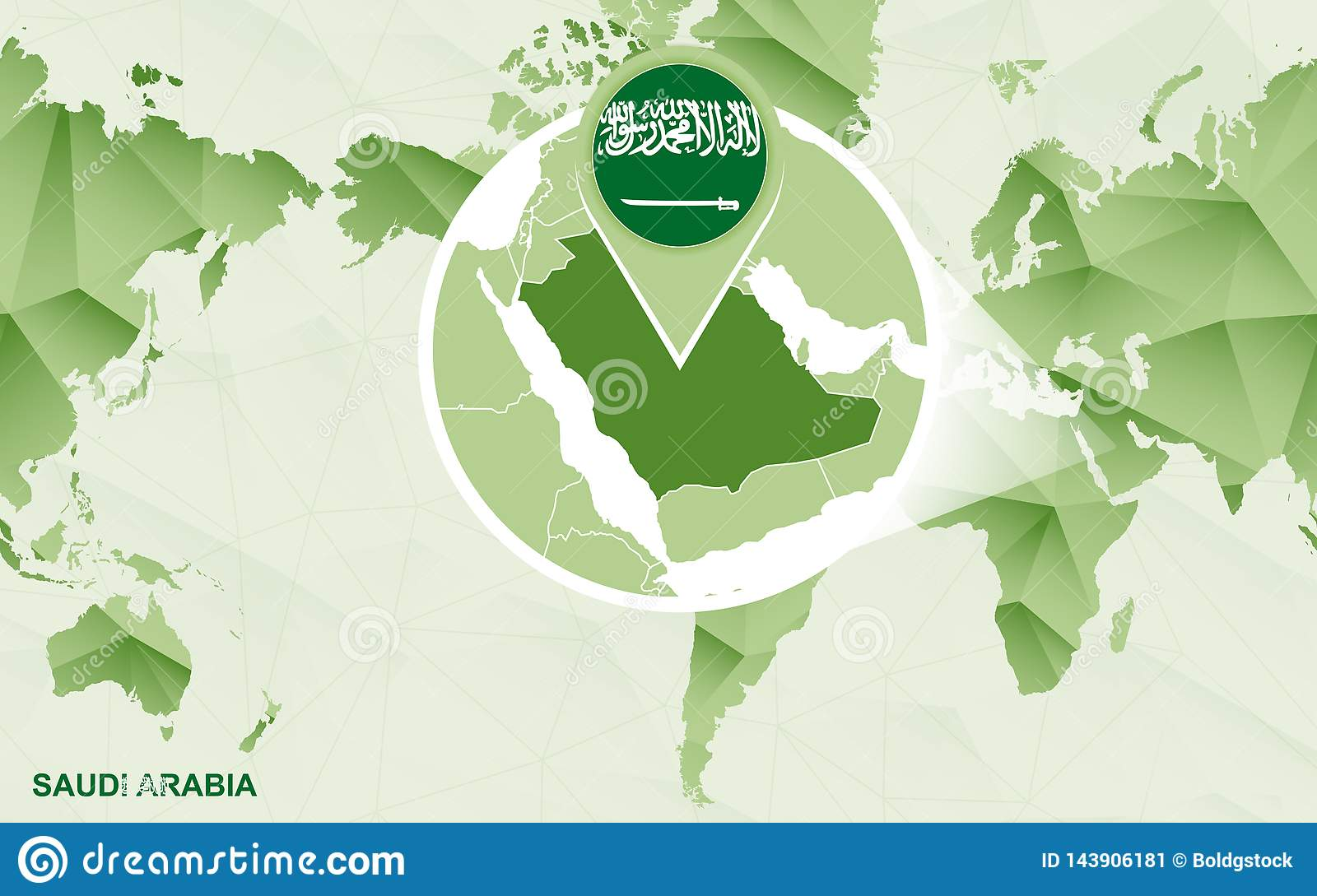 America Centric World Map With Magnified Saudi Arabia Map ...