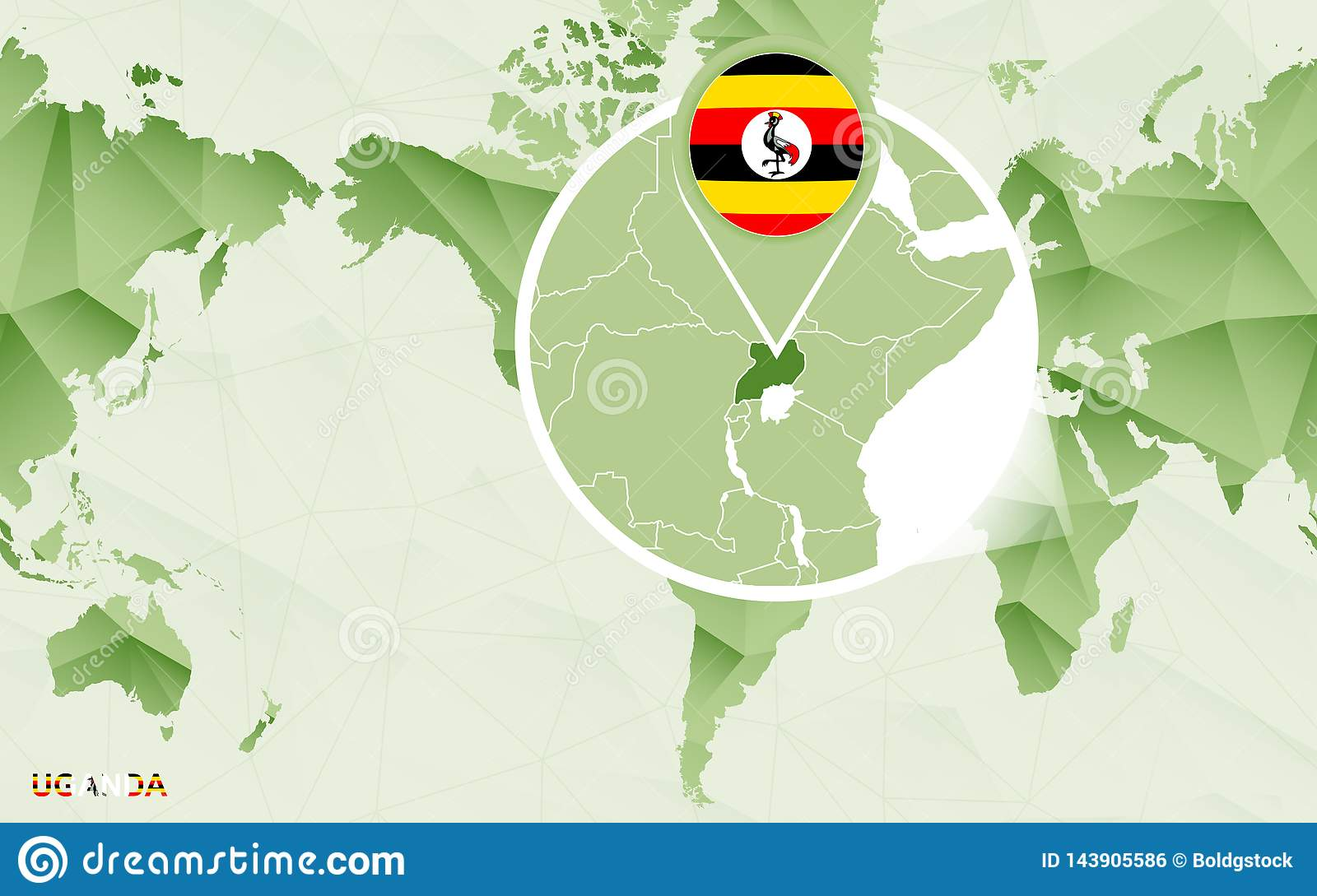 America Centric World Map With Magnified Uganda Map Stock ...