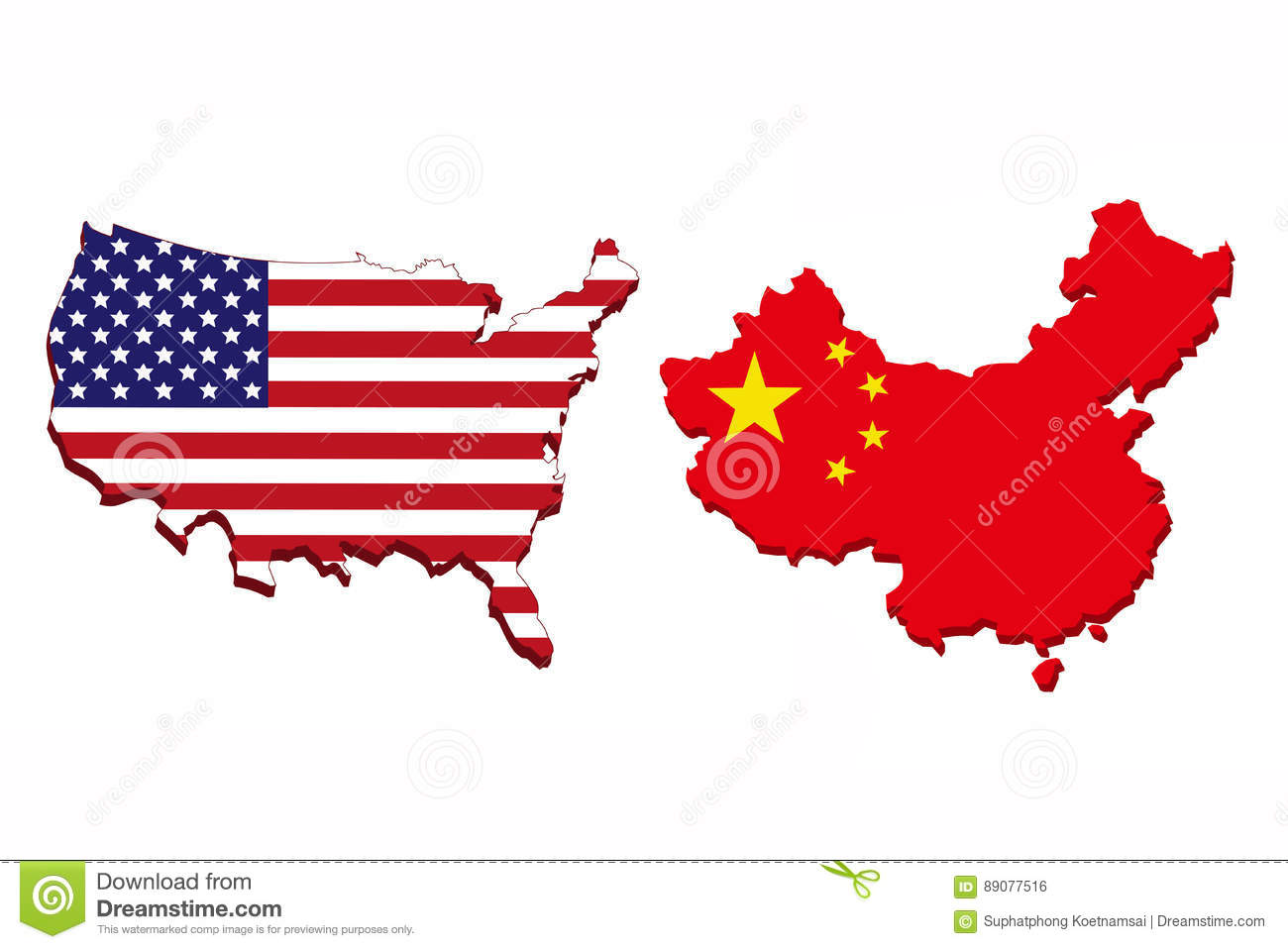 America And China Flag Map Stock Illustration Illustration Of
