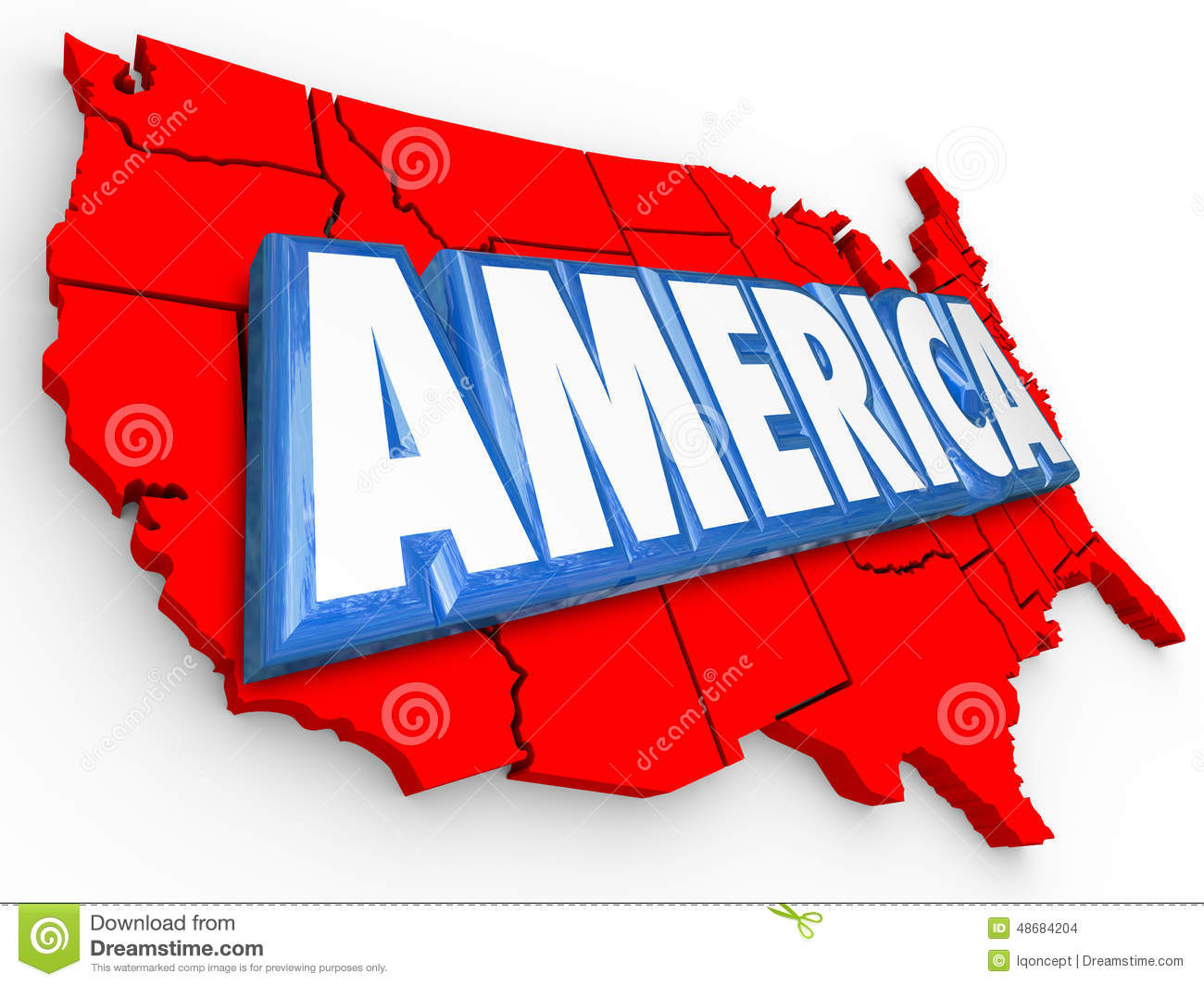 01d26d9343 America 3d Word United States Map USA Red White Blue Background ...