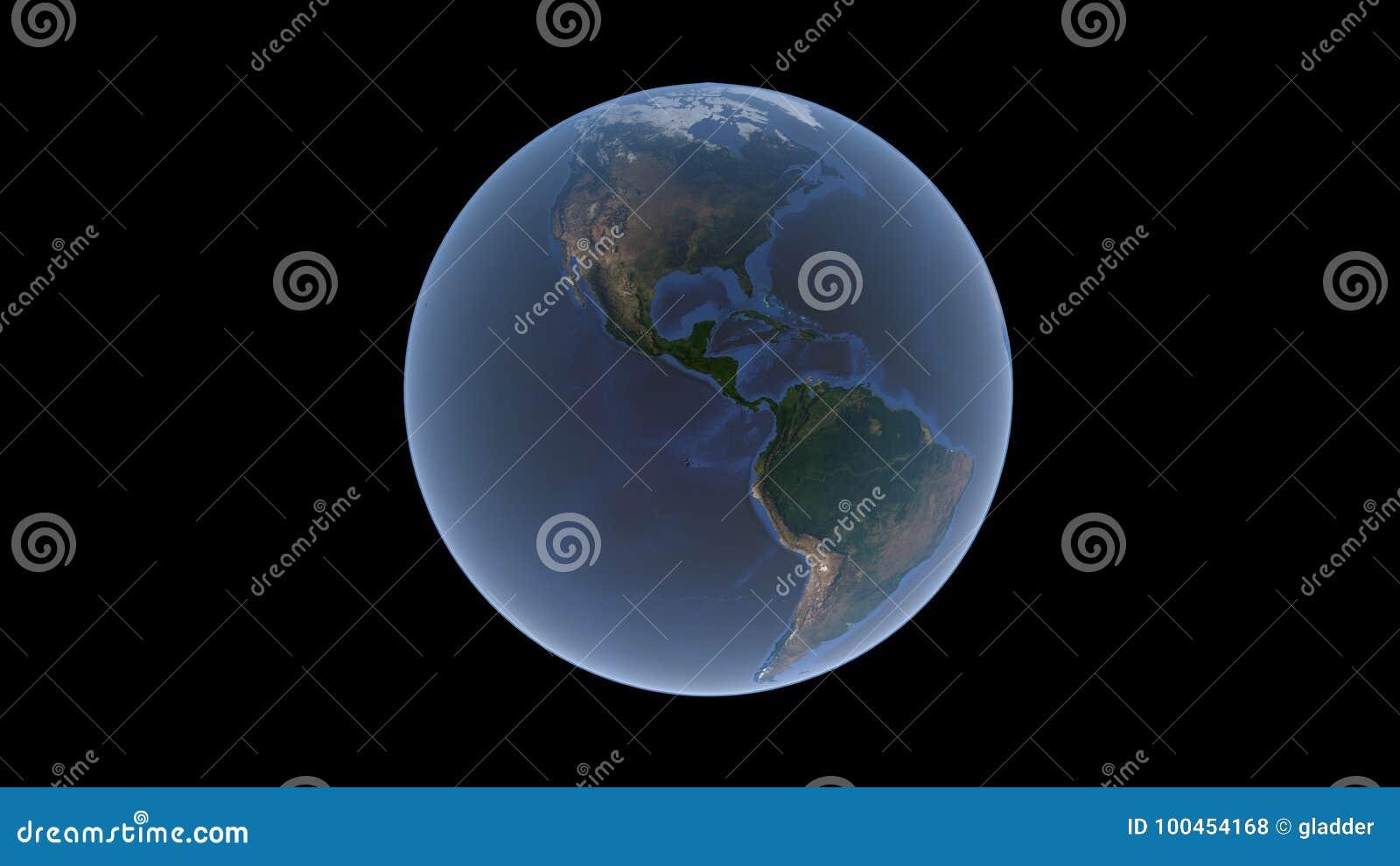 America do Norte e Ámérica do Sul cercadas por um oceano azul na bola da terra, um globo isolado, rendição 3D